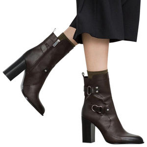 Zara brown buckle ankle booties, 7.5